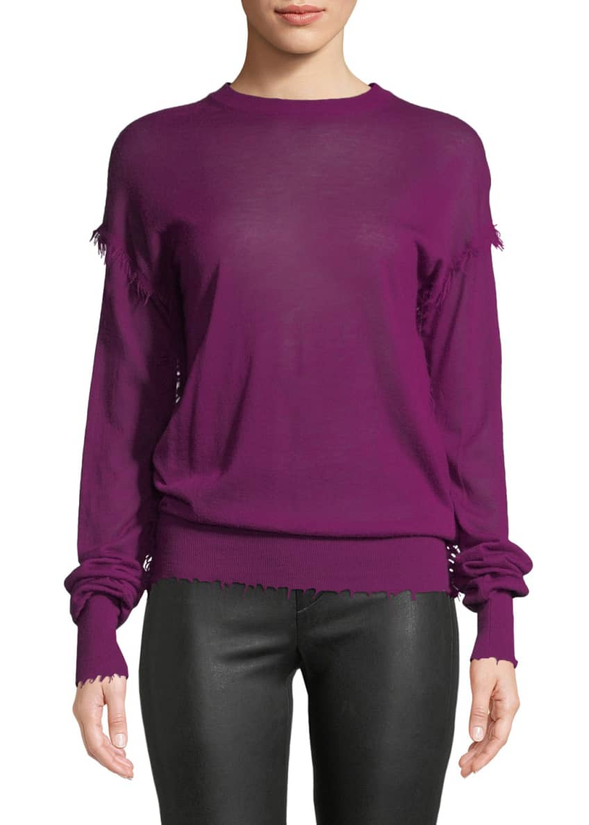 Helmut Lang Crewneck Long-Sleeve Cashmere Fray Sweater &