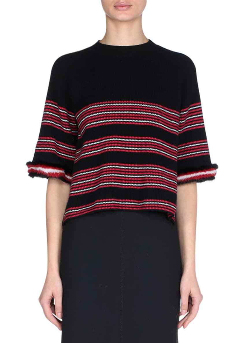 Fendi Striped Knit Sweater with Mink Fur Cuffs