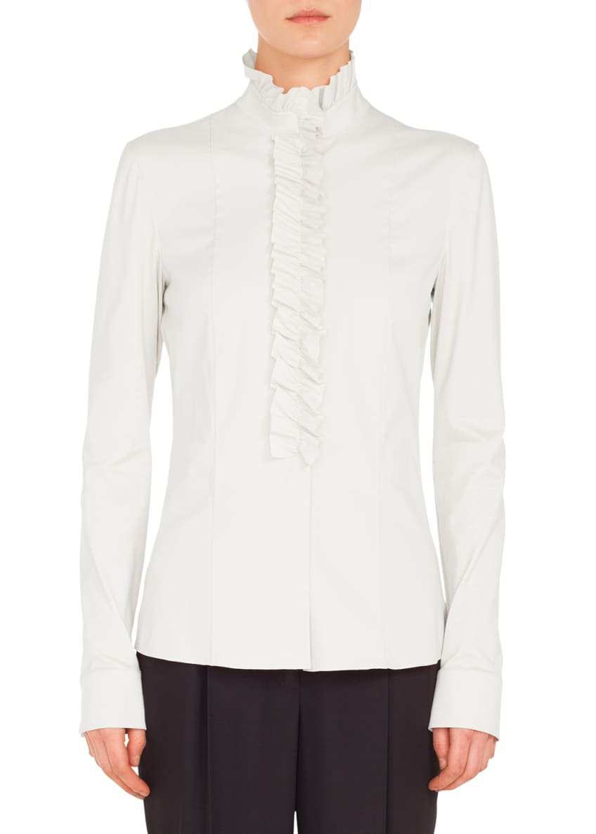 Akris punto Ruched Stand-Collar Button-Front Long-Sleeve Cotton