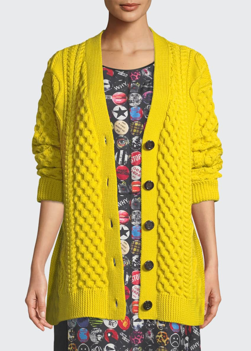 Marc Jacobs Button-Front Chunky Cable-Knit Merino Wool Cardigan