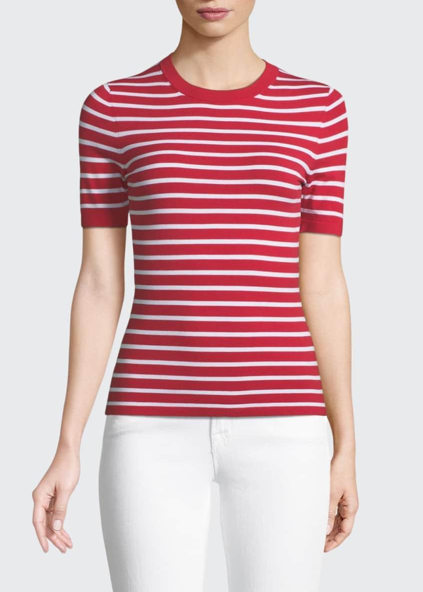 Michael Kors Collection Crewneck Short-Sleeve Striped