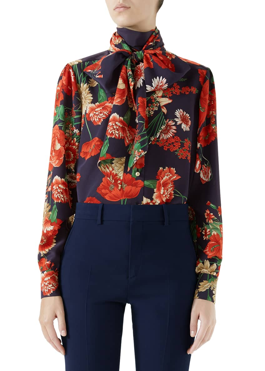 Gucci Spring Bouquet Silk Blouse w/ Self Tie