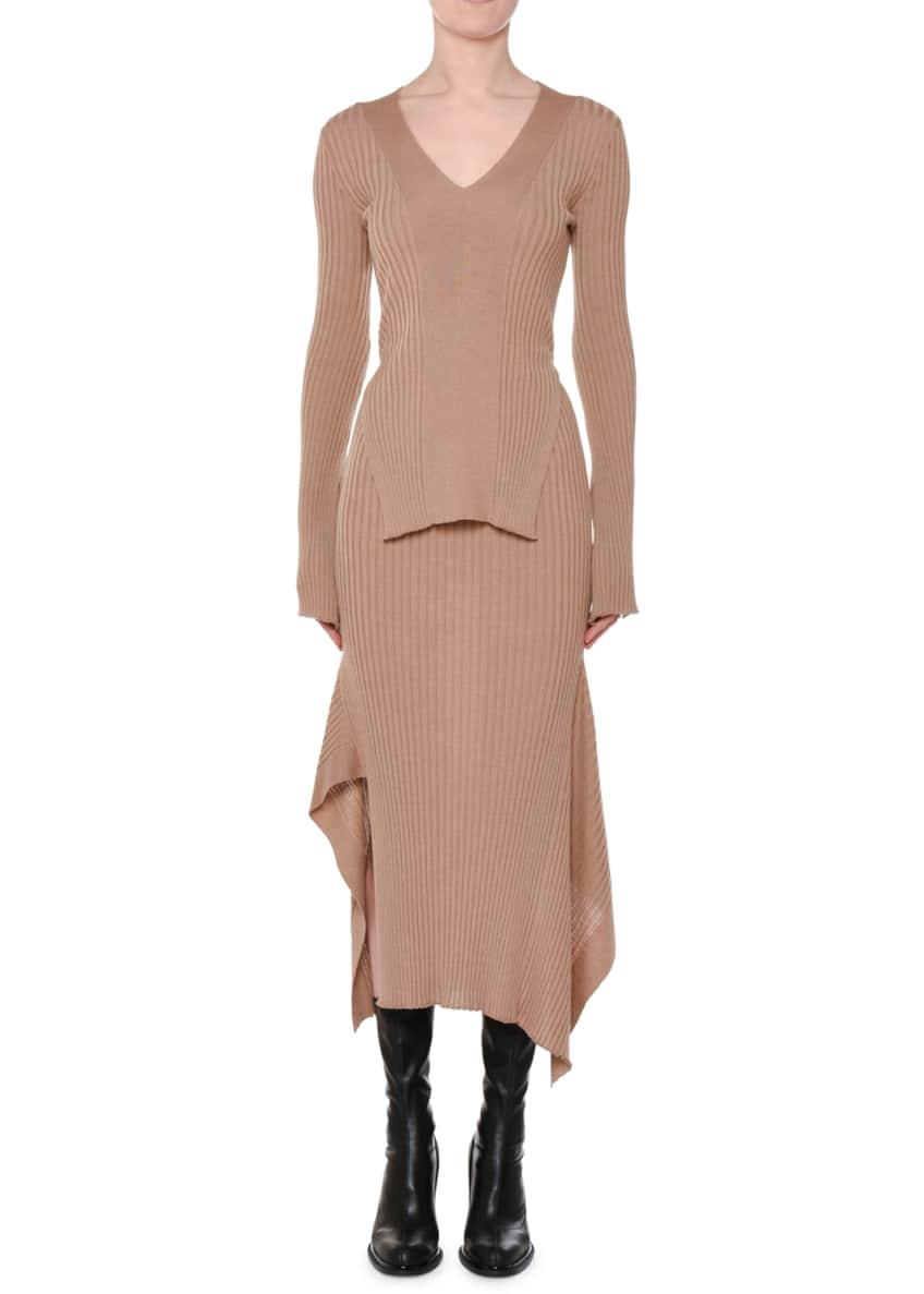 Stella McCartney V-Neck Long-Sleeve Split-Sides Ribbed-Knit