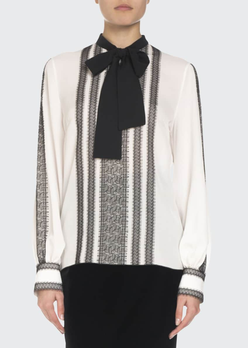 Andrew Gn Long-Sleeve Lace-Trim Silk Blouse w/ Neck