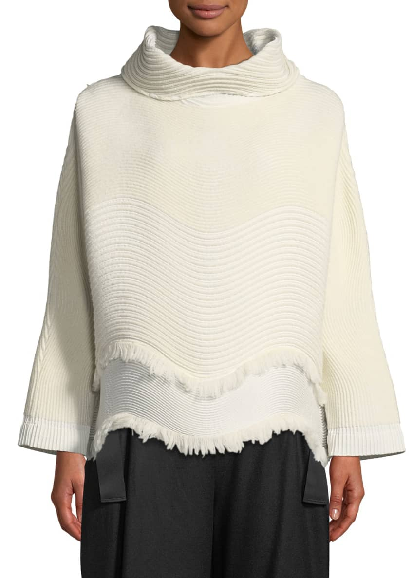 Issey Miyake Turtleneck Wavy-Knit Pullover Sweater & Matching