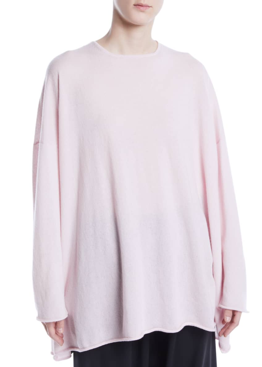 Eskandar Crewneck Long-Sleeve A-Line Cashmere Long Sweater &