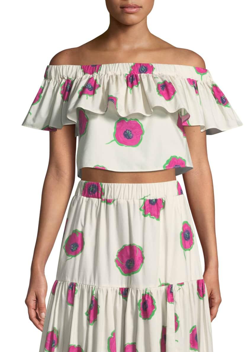 Double J Double Love Off-the-Shoulder Floral-Print Cropped Cotton