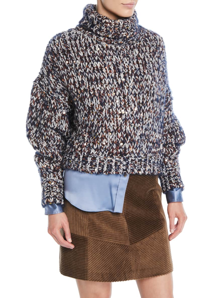 Brunello Cucinelli Turtleneck Long-Sleeve Velvet Effect Tweed