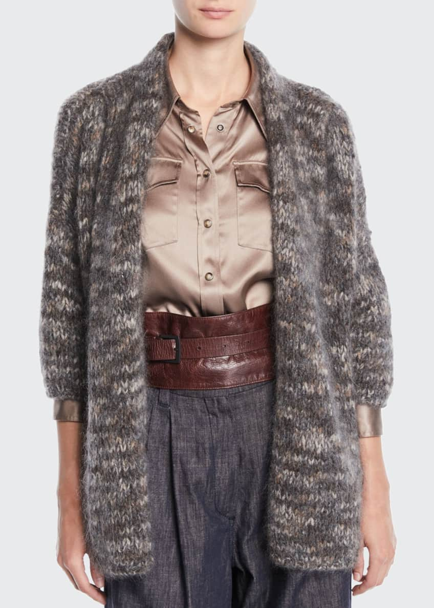 Brunello Cucinelli Zip-Front Reversible Sheep Fur/Metallic Chubby