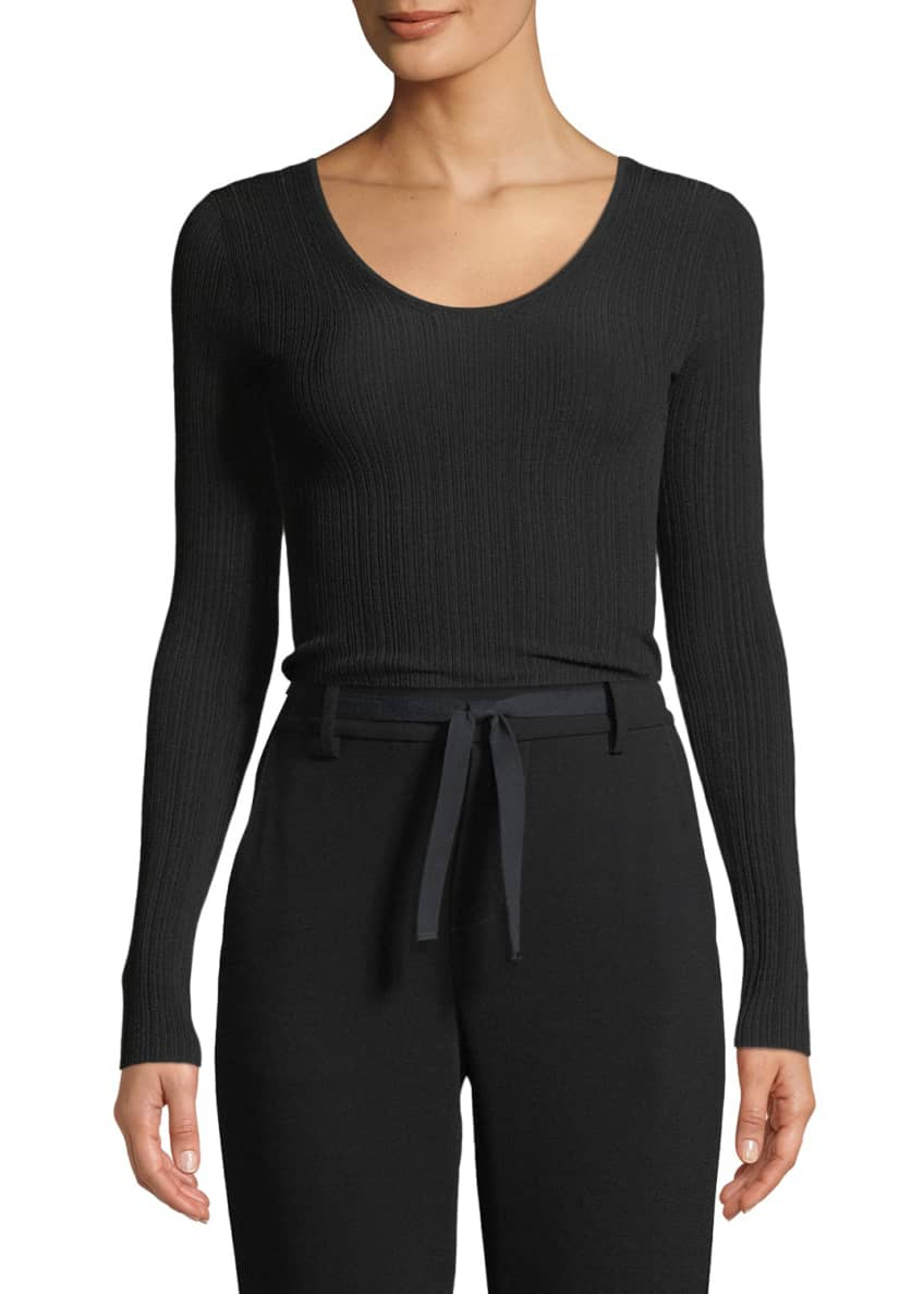 Vince Ribbed U-Back Long-Sleeve Top & Matching Items
