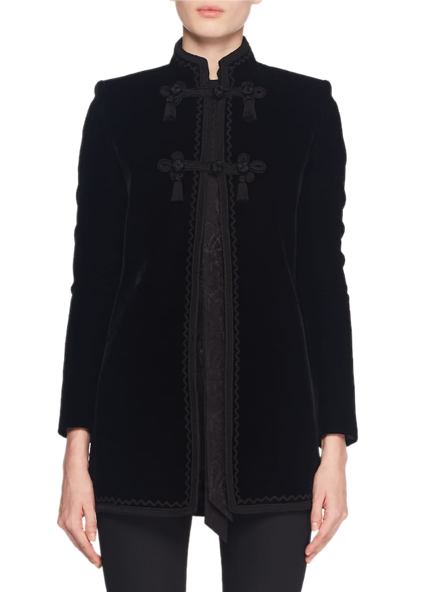 Saint Laurent Mandarin-Collar Frog-Closure Velvet Coat w/ Border