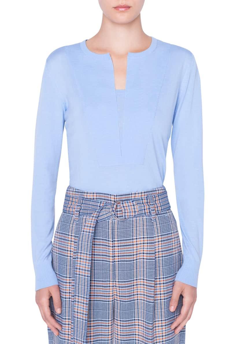 Akris punto Split-Neck Wool Pullover Sweater & Matching