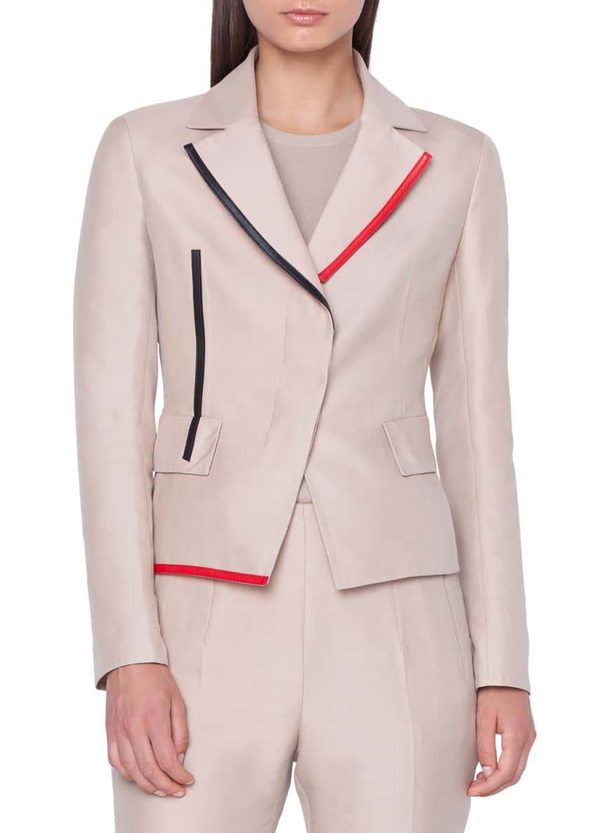 Akris Aiko Short Leather-Contrast Jacket & Matching Items