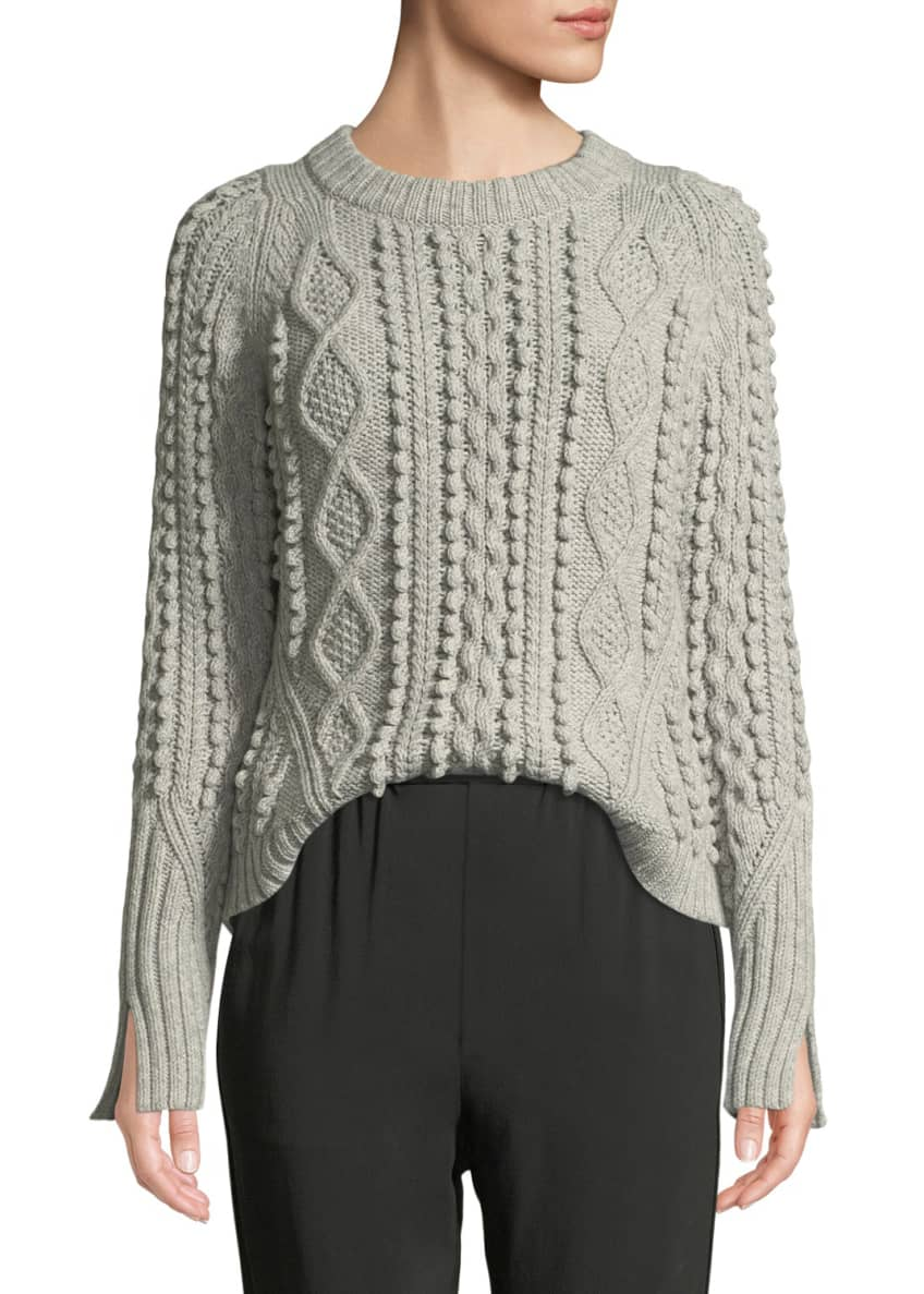 3.1 Phillip Lim Cable-Knit Popcorn Wool Pullover Sweater