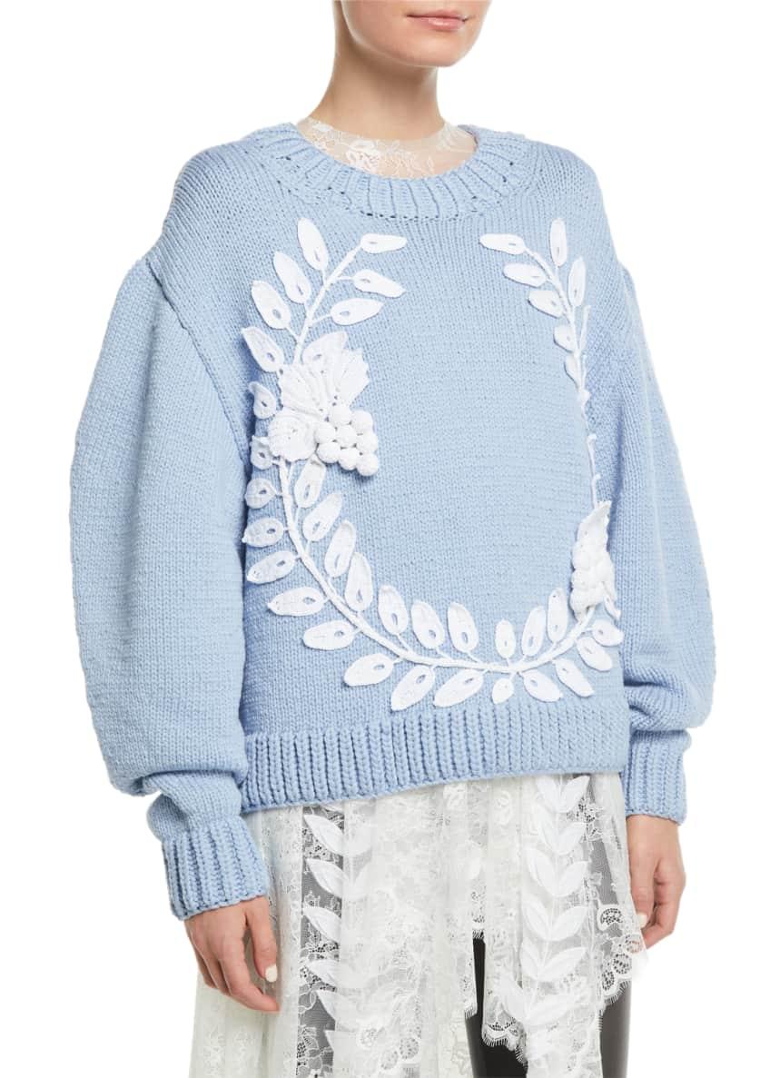 Oscar de la Renta Crochet-Wreath Crewneck Wool-Cashmere Knit