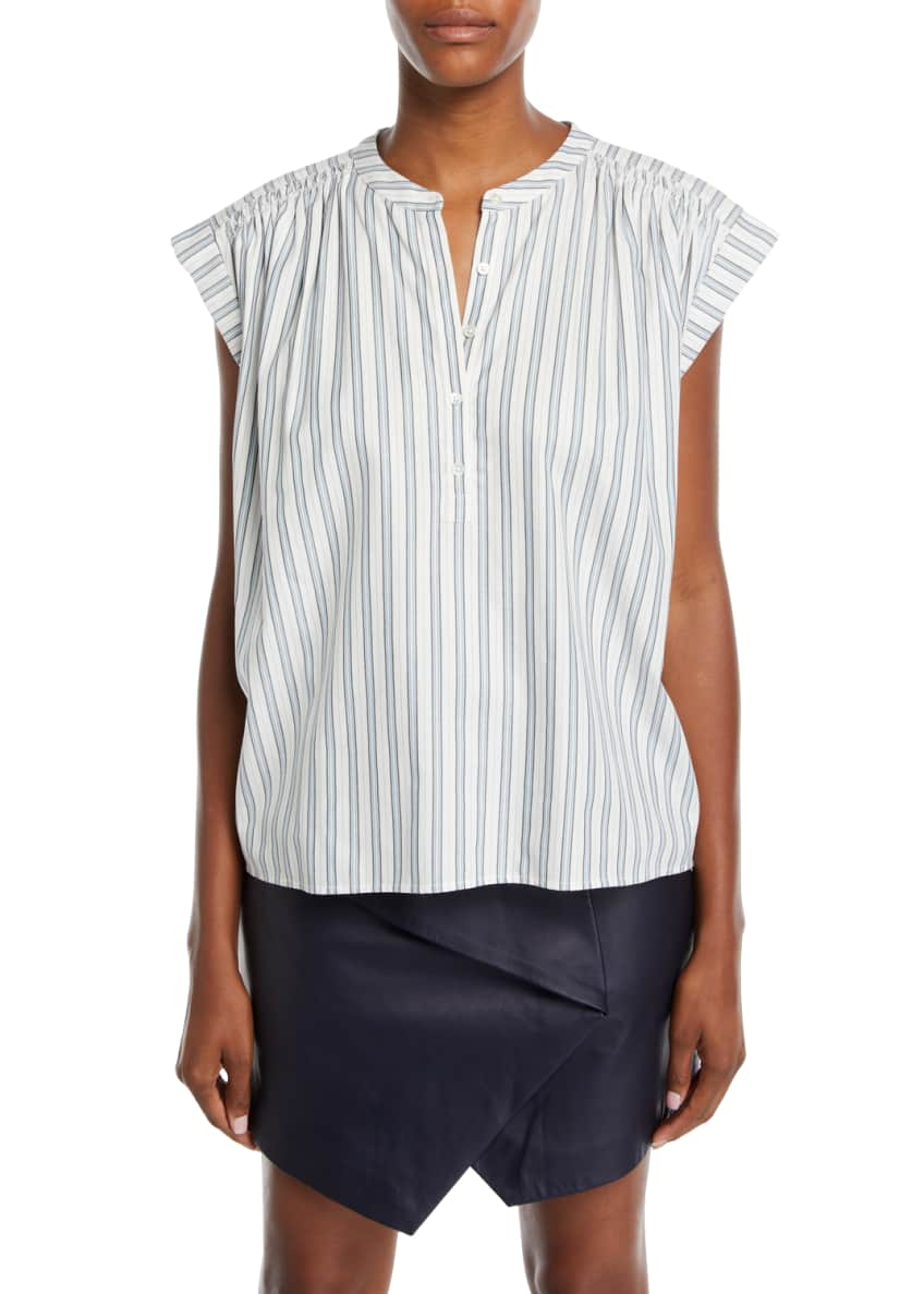 Joie Jacquita Shadow-Stripe Cotton Cap-Sleeve Top & Matching