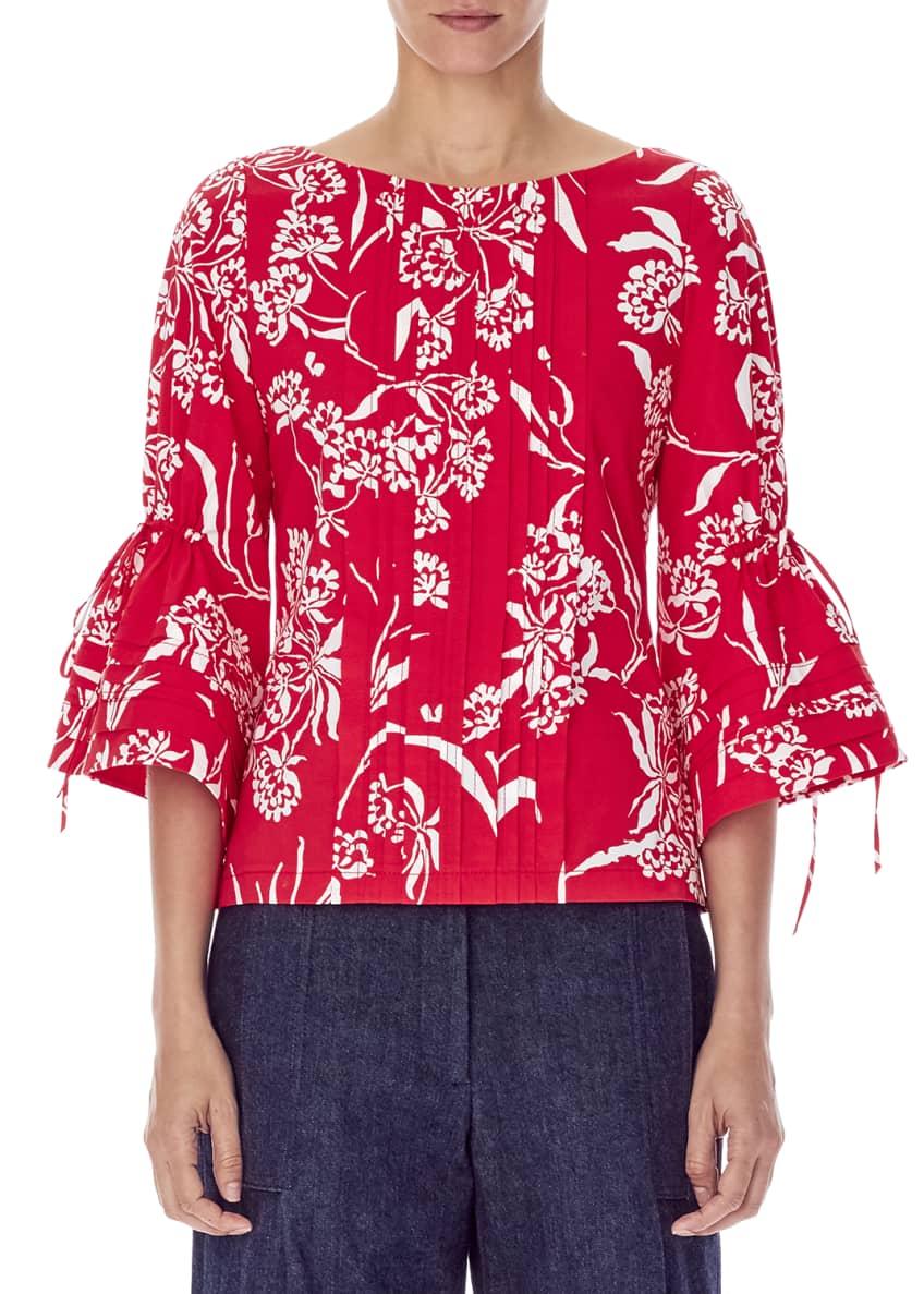 Carolina Herrera Flutter-Sleeve Bateau-Neck Pleated Floral-Print