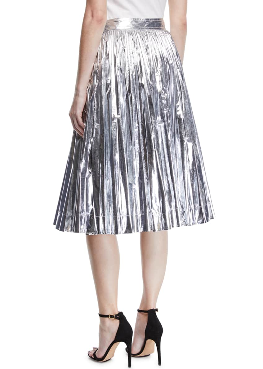 Image 2 of 5: High-Waist Pleated Flare Knee-Length Skirt