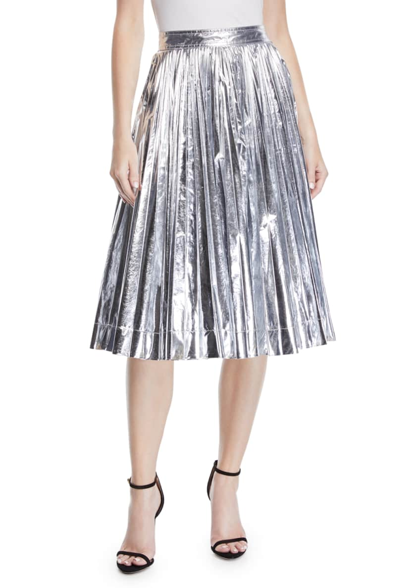 Image 1 of 5: High-Waist Pleated Flare Knee-Length Skirt