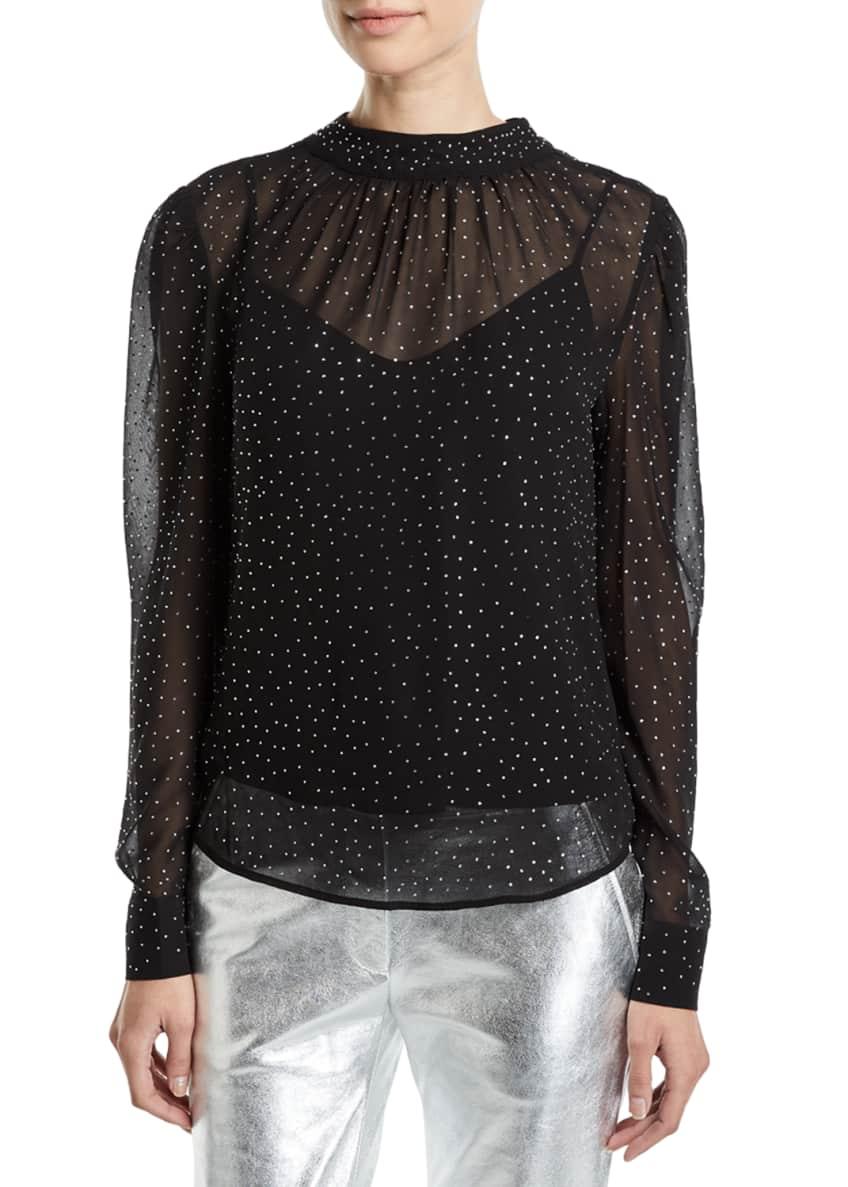 Veronica Beard Melling Embellished Silk Long-Sleeve Top &