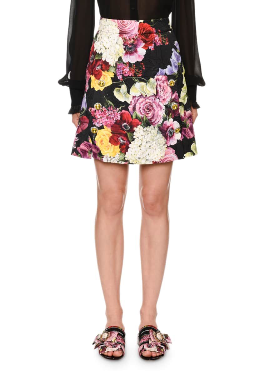 Dolce & Gabbana Mock-Neck Ruffled-Georgette Button-Front Blouse &