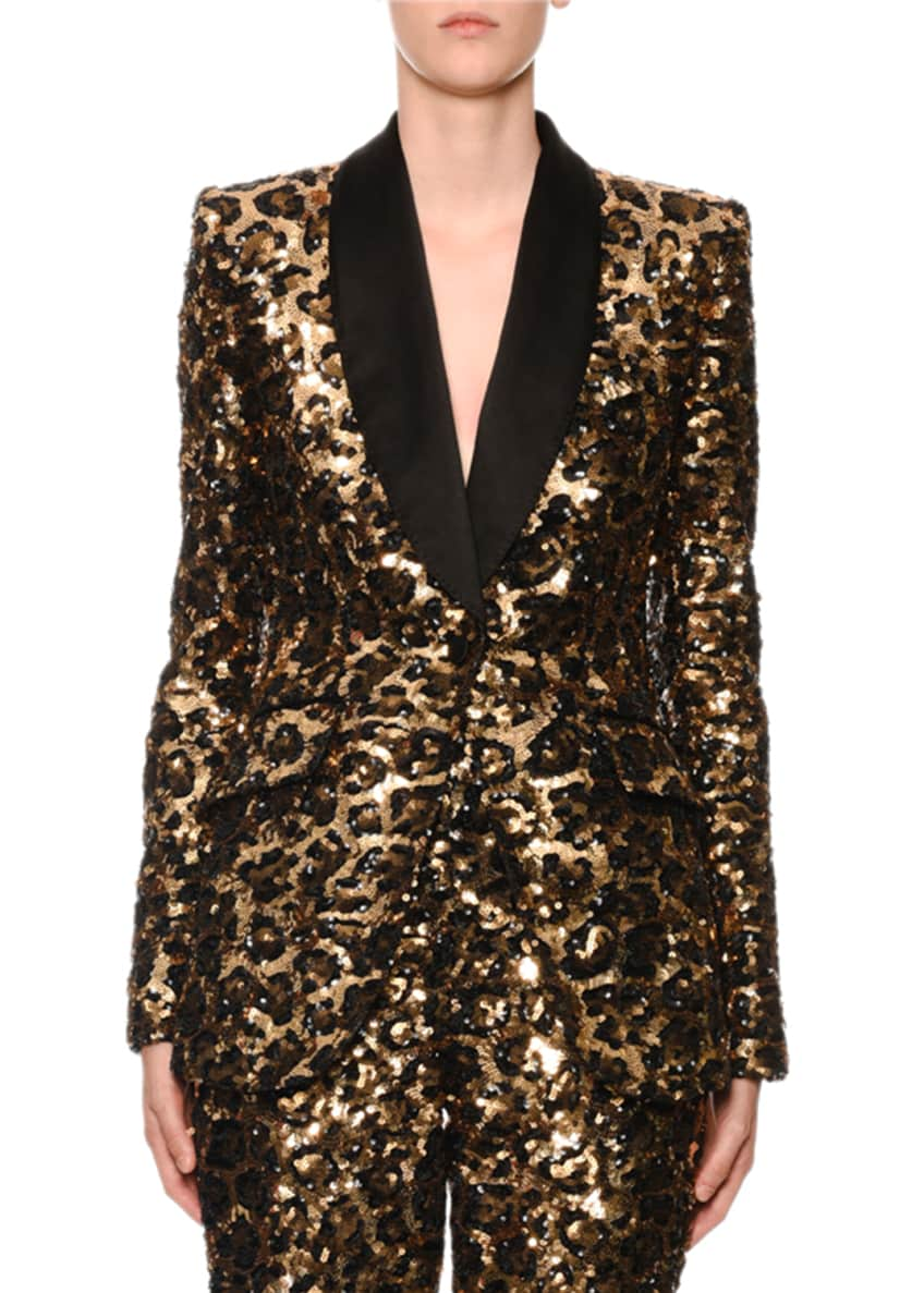 Dolce & Gabbana Sequined Leopard-Print Single-Breasted Blazer &