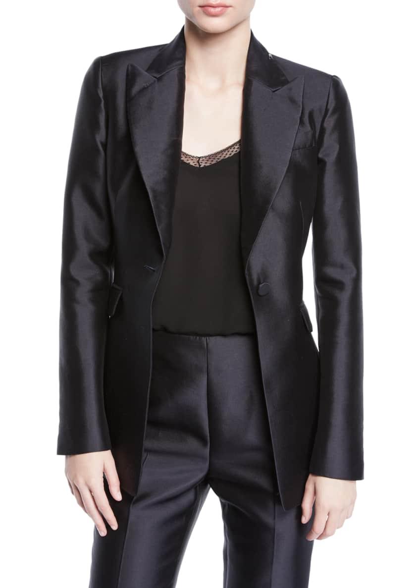 Gabriela Hearst Serge Silk-Wool Pearl-Embellished Blazer &