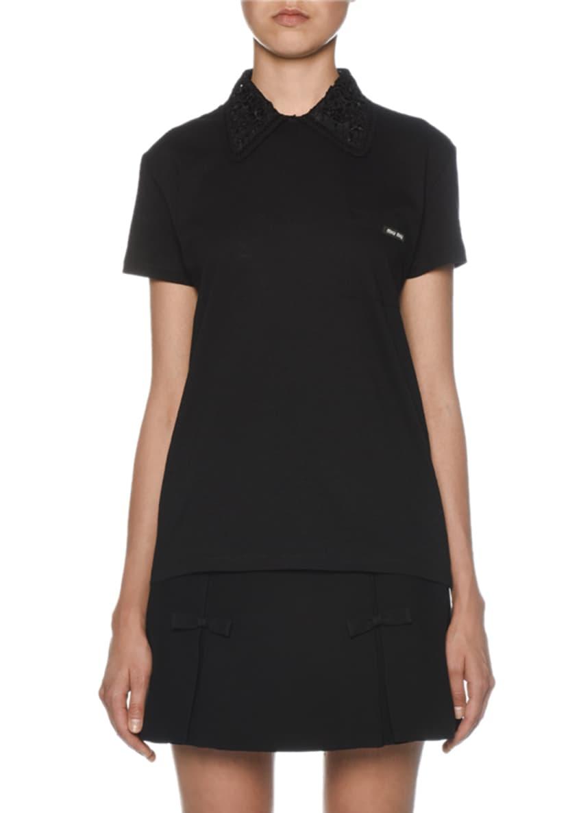 Miu Miu Short-Sleeve Jeweled Collar T-Shirt & Matching