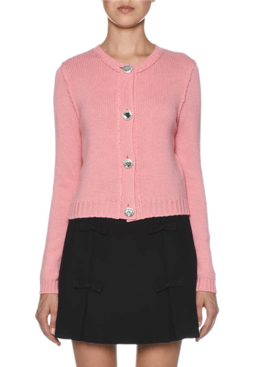 Miu Miu Cashmere Jeweled Button-Front Cardigan & Matching