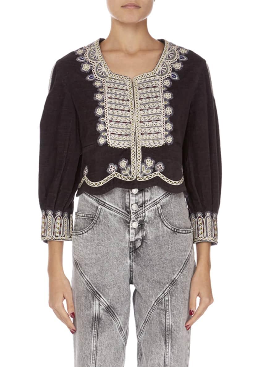 Isabel Marant Amity Embroidered Crop Jacket & Matching