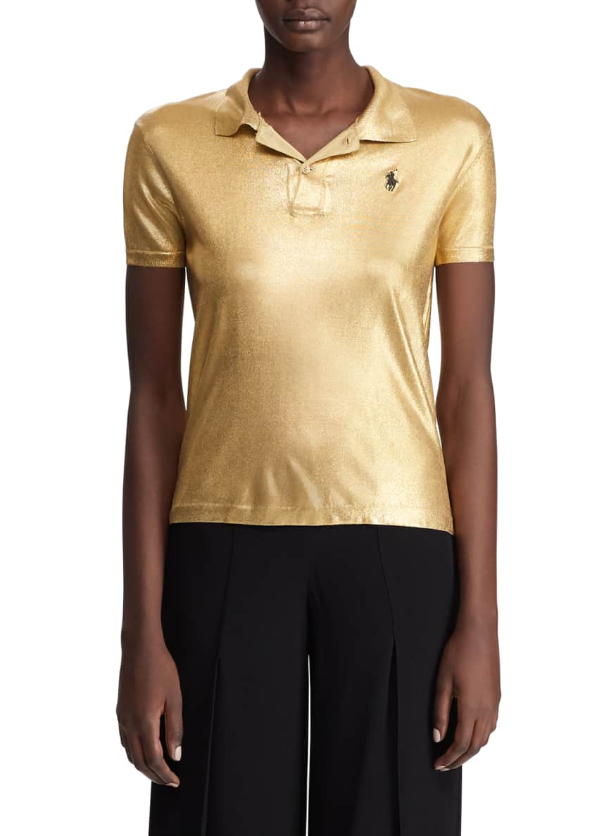 Ralph Lauren Collection Metallic Classic Polo Shirt &