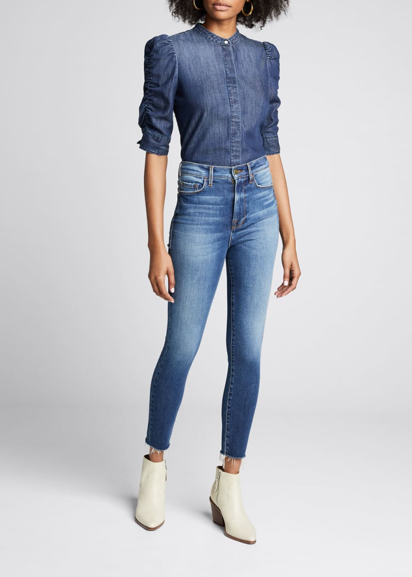 FRAME Button-Front Elbow-Sleeve Shirred Denim Shirt & Matching
