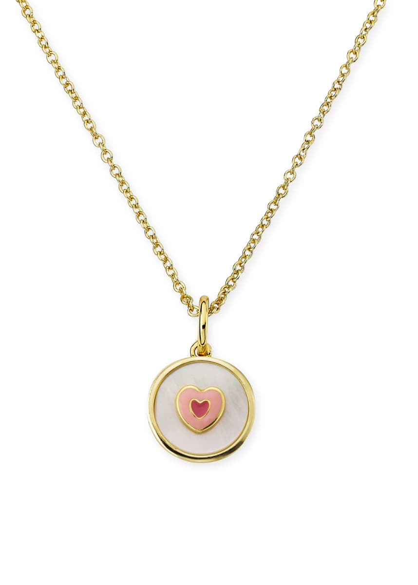 LMTS Girls' Mother-of-Pearl Heart Pendant Necklace, White