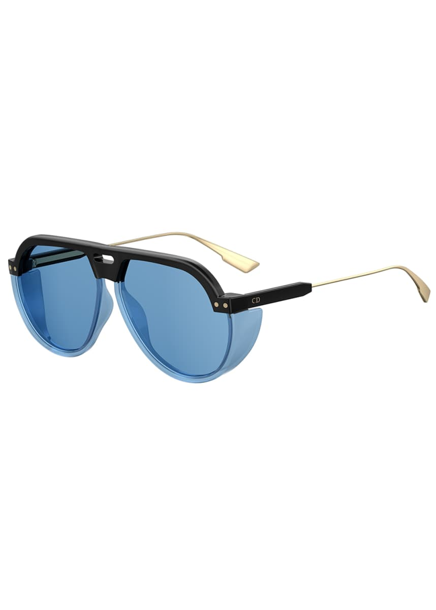 Dior DiorClub3 Aviator Sunglasses w/ Side Blinders