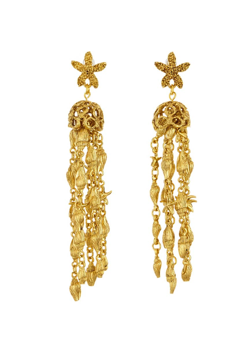 Oscar de la Renta Starfish Shell Tassel Drop Earrings