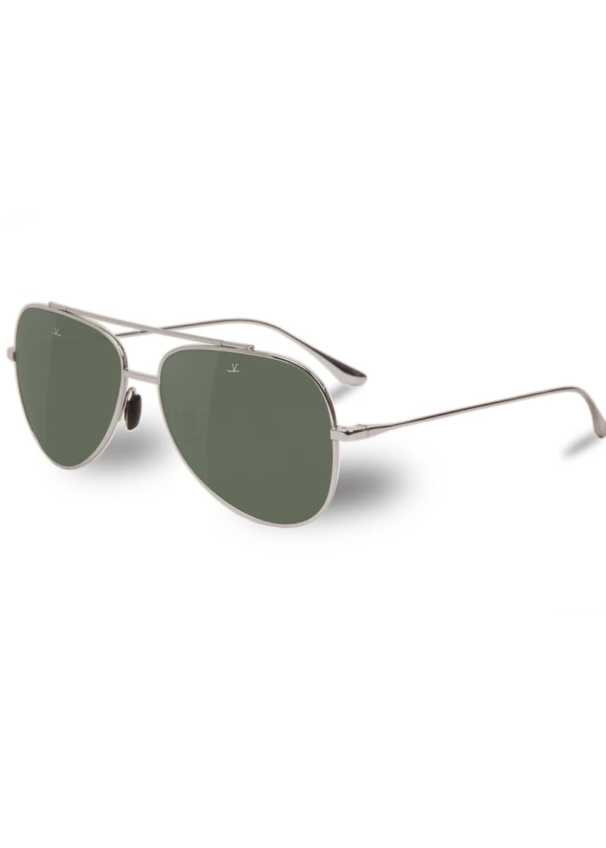 Vuarnet Men's Swing Large Titanium Pilot/Aviator Sunglasses