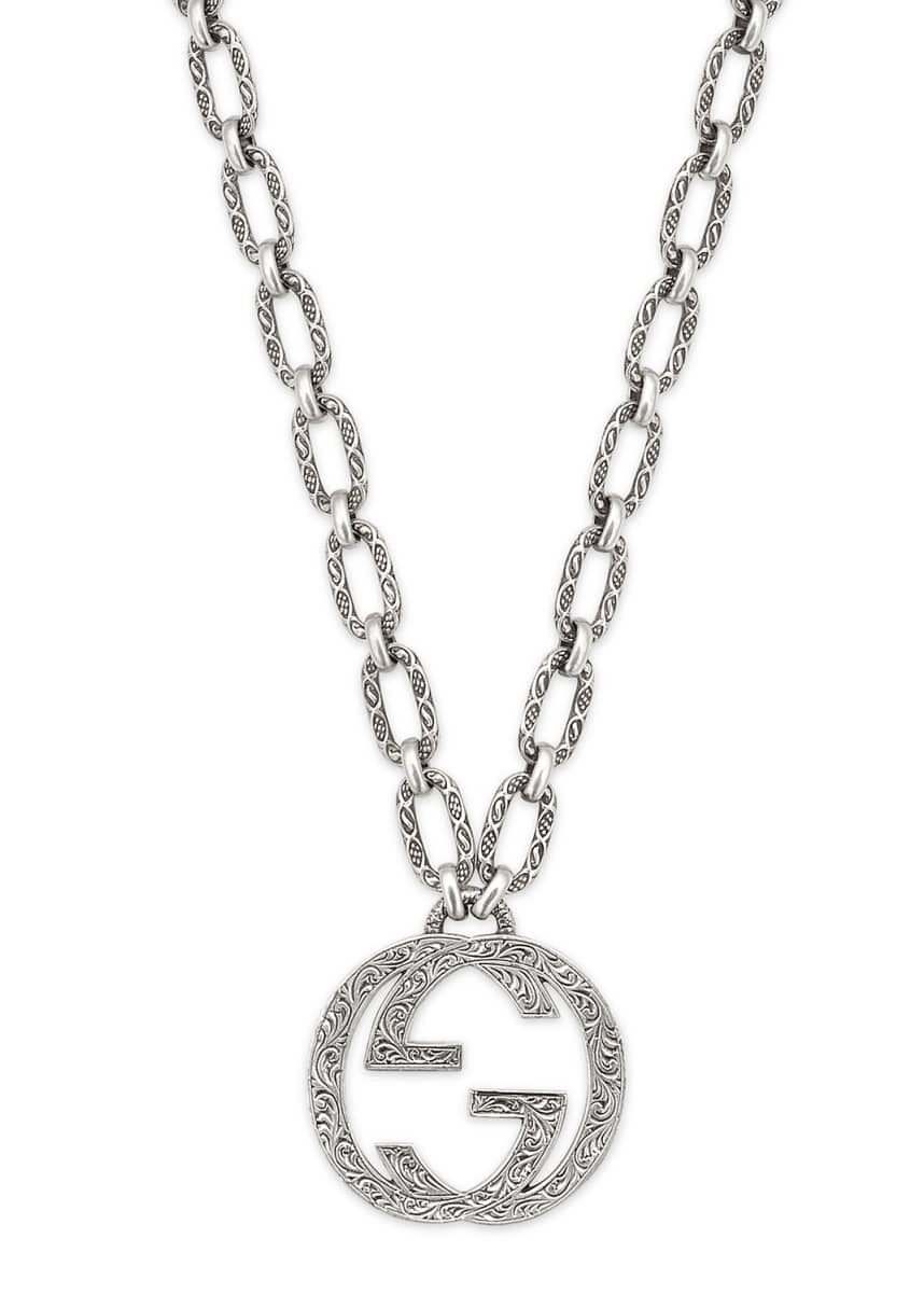 "Gucci Men's Interlocking G Pendant Necklace, 36""L"