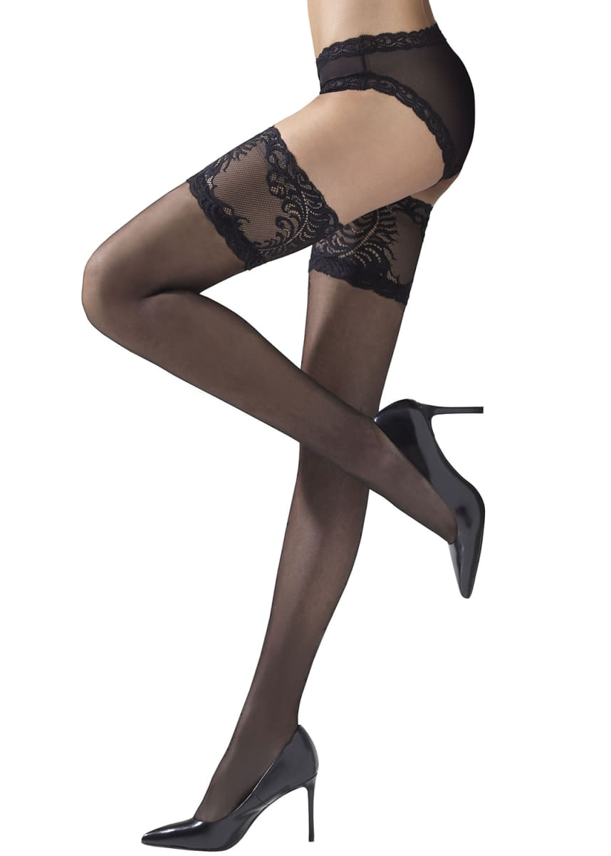 Natori Silky Sheer Lace Top Thigh Highs