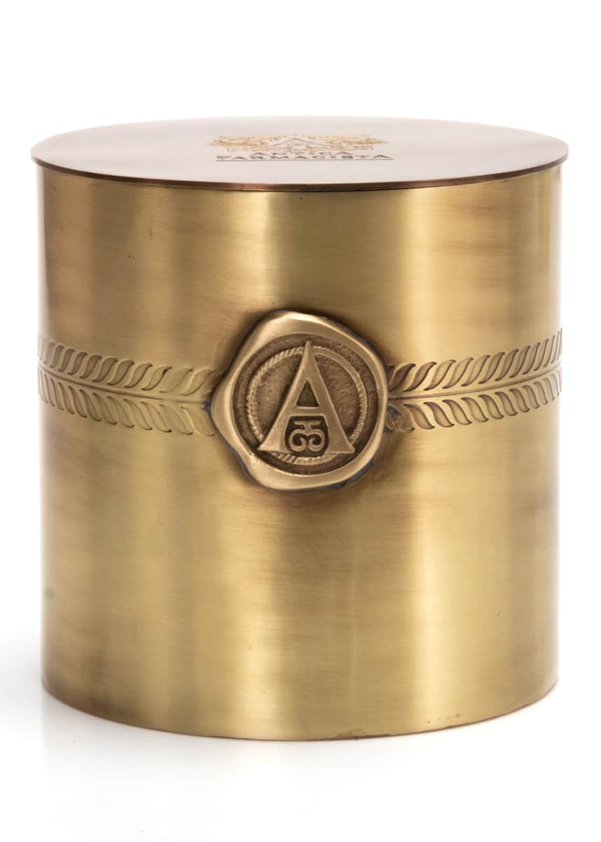 Antica Farmacista Three Wick Brass Candle in Prosecco
