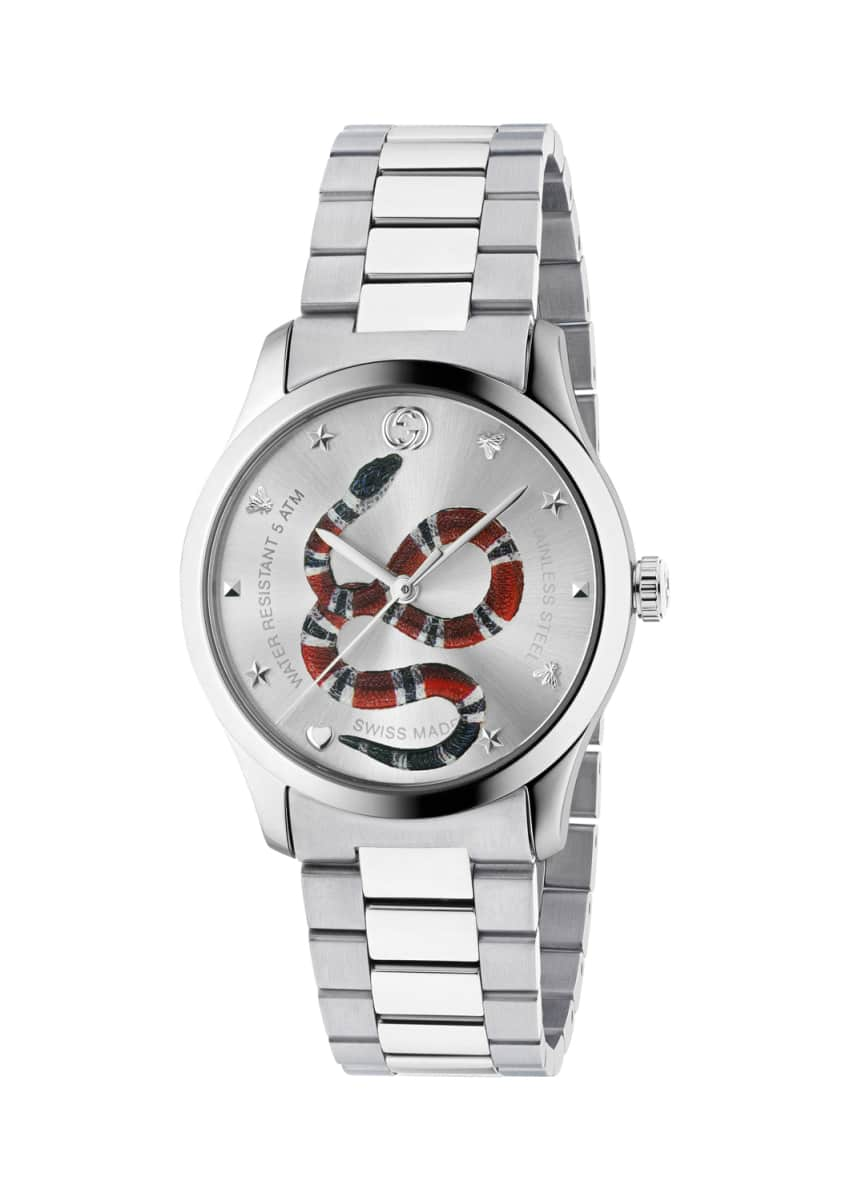 Gucci Men's Snake Stainless Steel Bracelet Watch