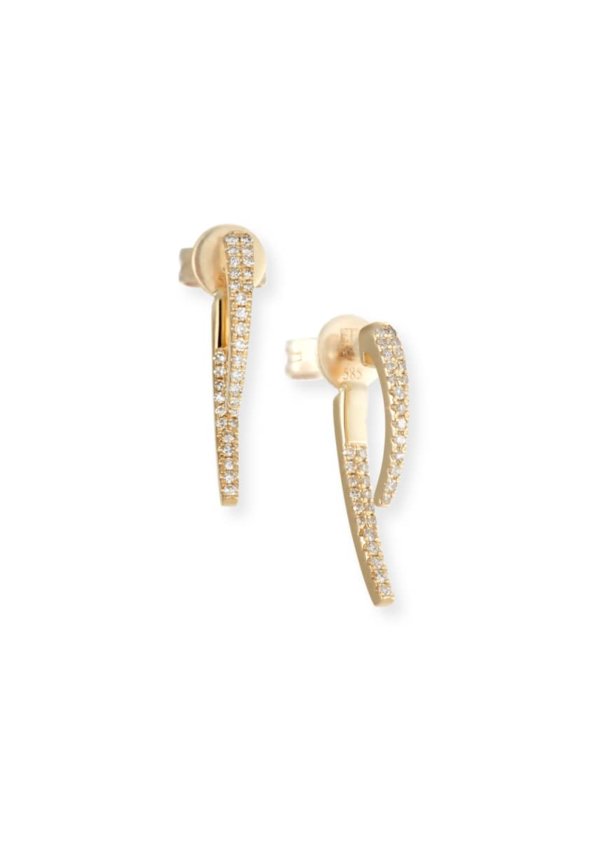EF Collection 14k Gold Diamond Hook Earrings