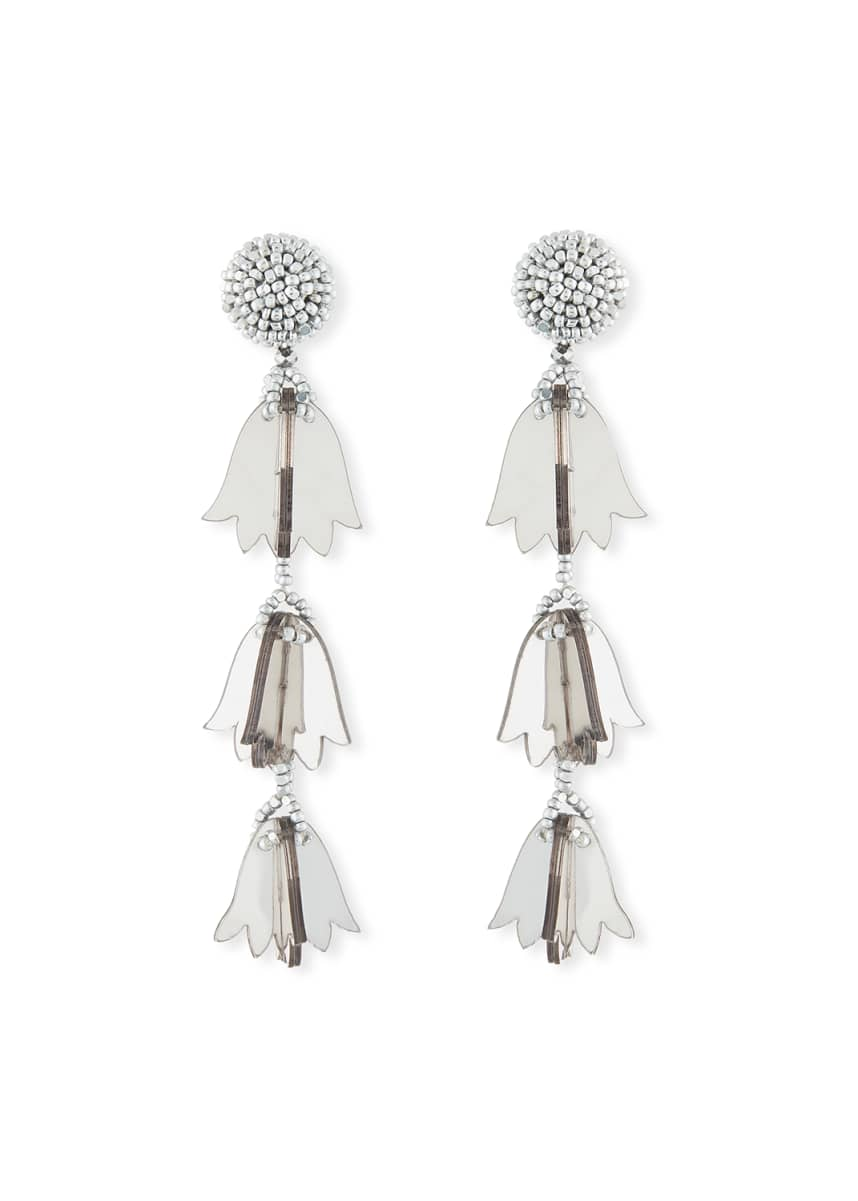 Oscar de la Renta Triple Bellflower Clip-On Earrings