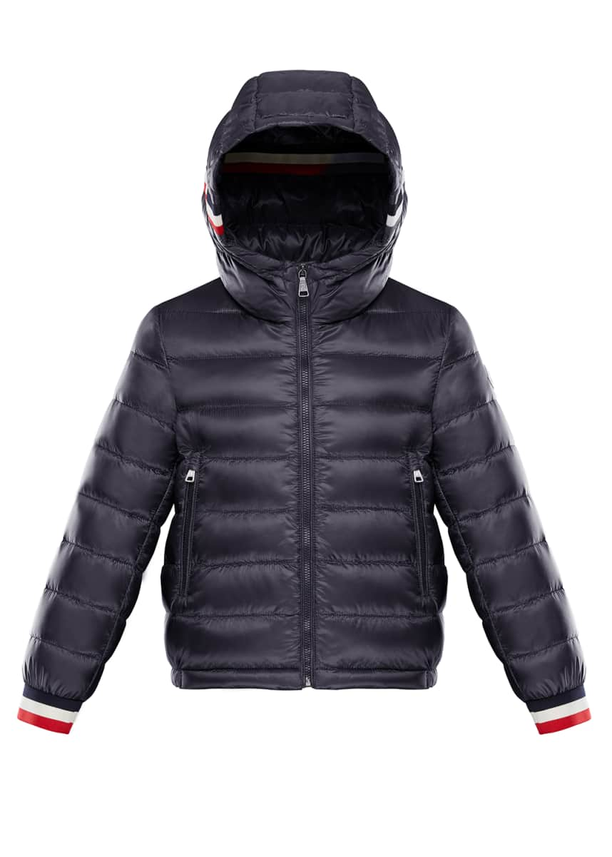 Moncler Quilted Hooded Jacket w/ Striped Trim, Size 4-6
