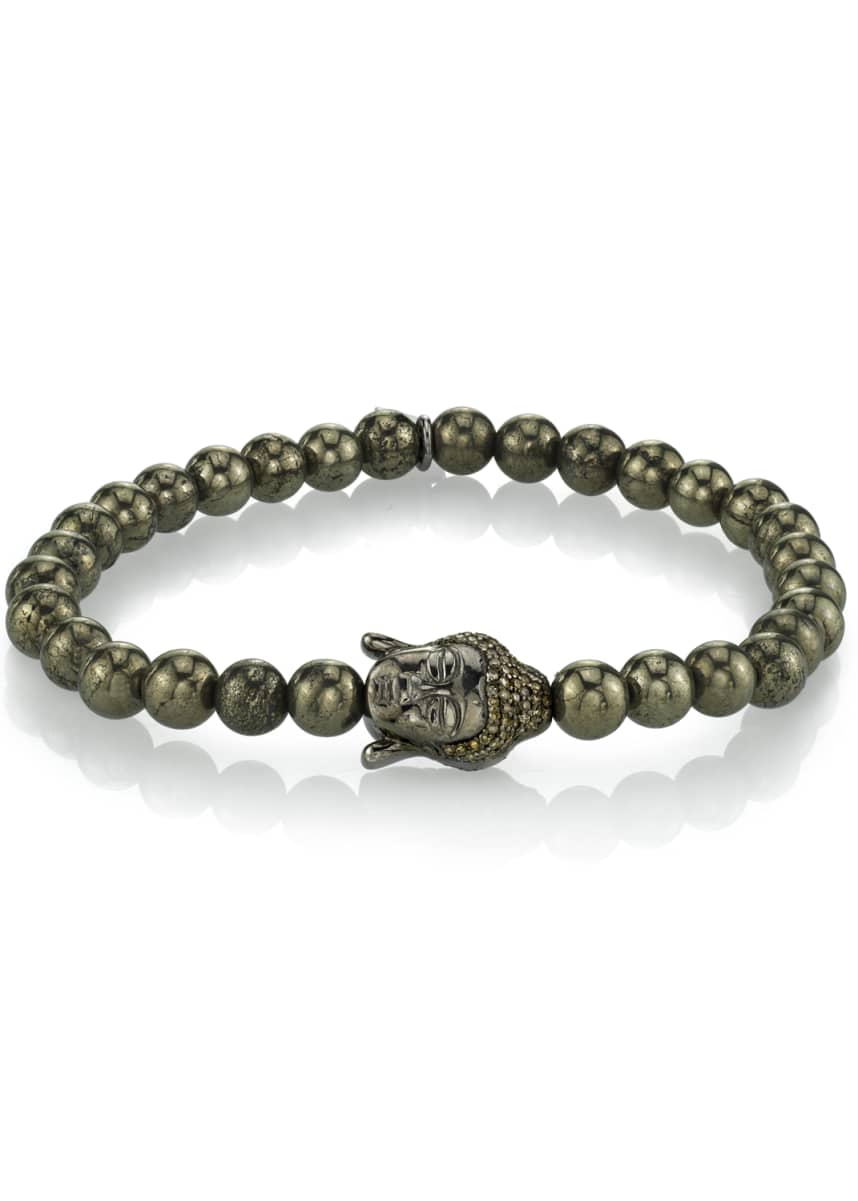 Mr. Lowe Men's Pyrite Bracelet w/ Buddha Head, 6mm