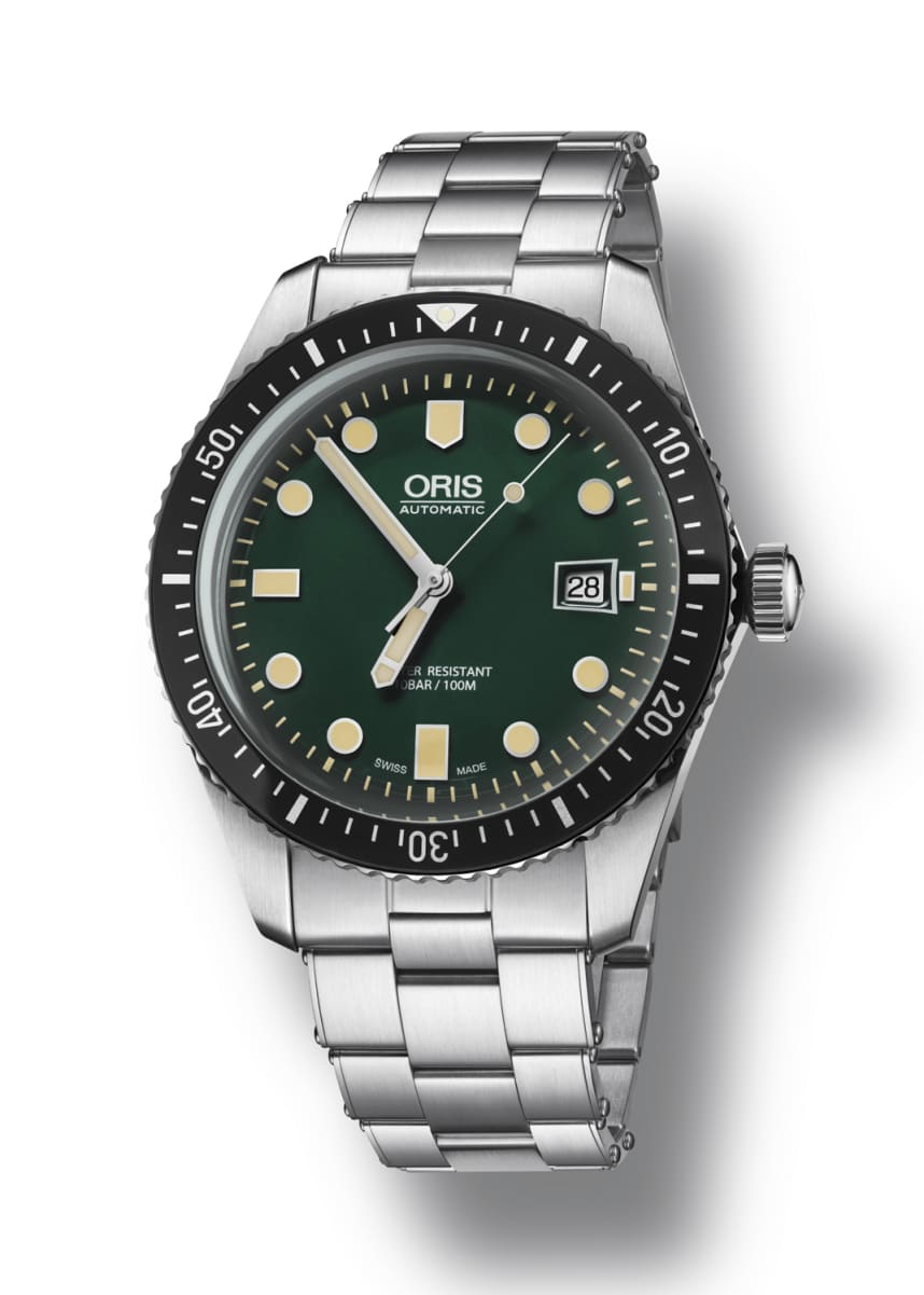 Oris Men's 42mm Diver Watch w/ Bracelet Strap, Green/Steel