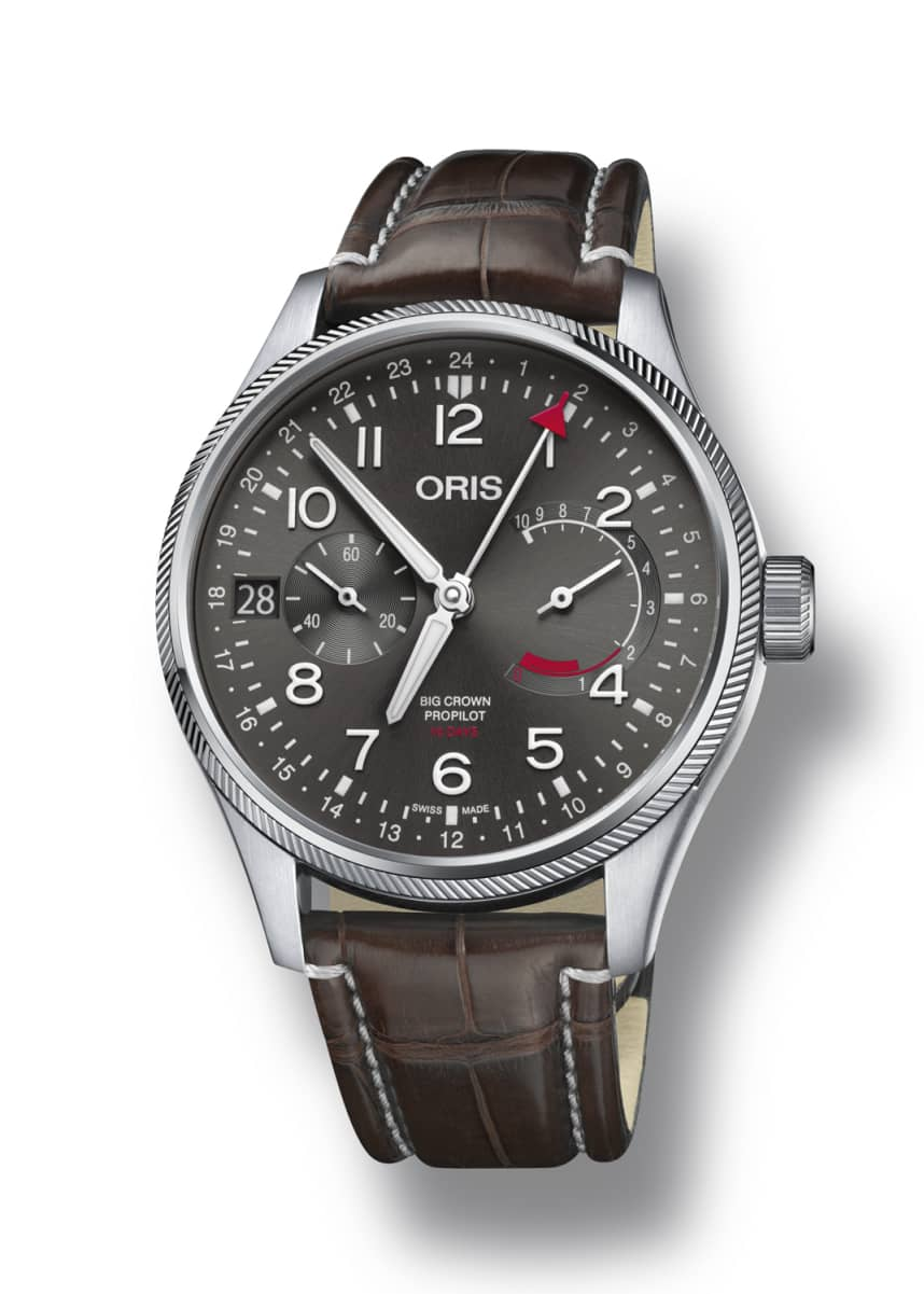 Oris Men's 44mm Propilot Chronograph Watch, Gray/Brown