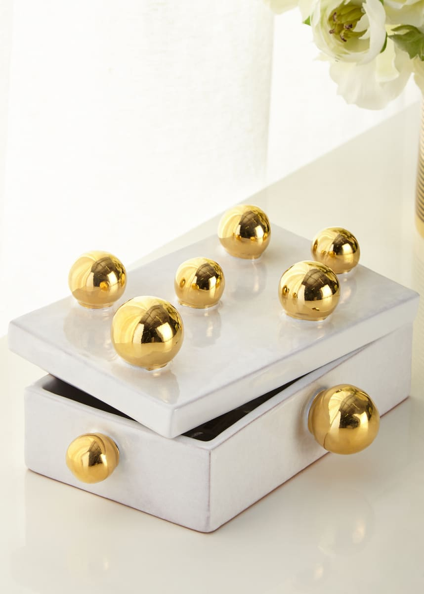 Dolfi White Small Box with Golden Spheres