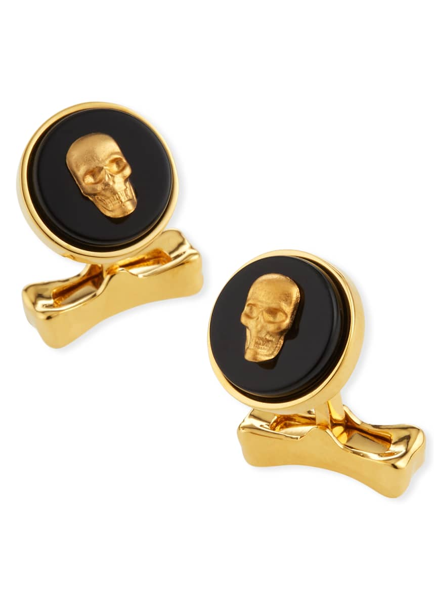 Alexander McQueen Men's Skull-on-Stone Cufflinks with Zebra Jasper
