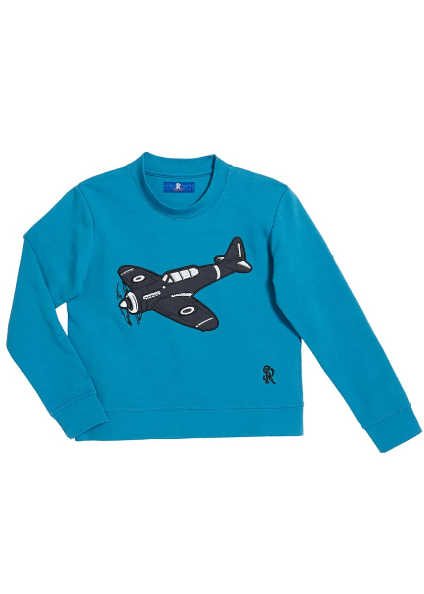 Stefano Ricci Boys' Airplane Patch Long-Sleeve T-Shirt, Size 4-16