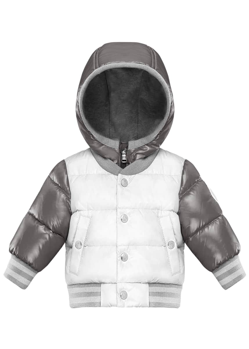 Moncler Pinet Two-Tone Quilted Zip-Up Hooded Varsity Puffer Jacket, Size 12M-3